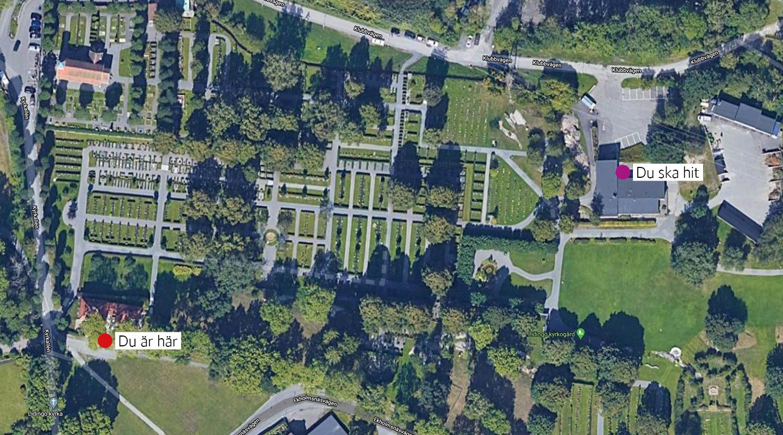 Karta flytt av kyrkogårdsexpeditionen till Klubbvägen 6.