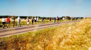Människor på pilgrimsvandring längst en landsväg. Foto Alex & Martin IKON.