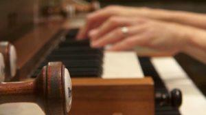 Närbild på händer som spelar orgel. Foto Magnus Hallberg.